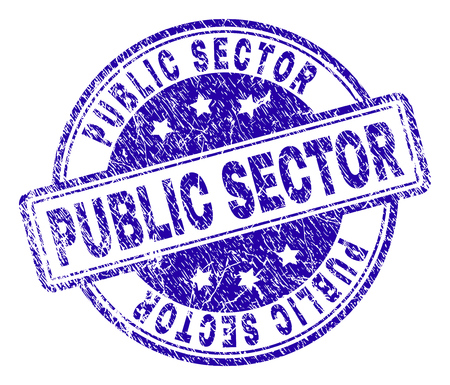 PUBLIC SECTOR stamp seal watermark with grunge texture. Designed with rounded rectangles and circles. Blue vector rubber print of PUBLIC SECTOR caption with dust texture.