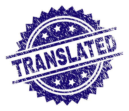 TRANSLATED stamp seal watermark with distress style. Blue vector rubber print of TRANSLATED title with retro texture.