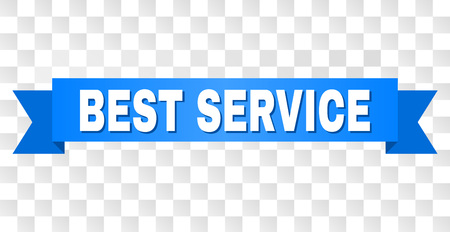 BEST SERVICE text on a ribbon. Designed with white title and blue stripe. Vector banner with BEST SERVICE tag on a transparent background. Ilustrace