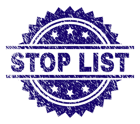 STOP LIST stamp seal watermark with distress style. Blue vector rubber print of STOP LIST tag with grunge texture. 矢量图像