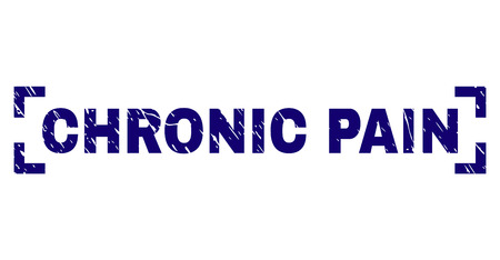 CHRONIC PAIN caption seal print with distress texture. Text tag is placed inside corners. Blue vector rubber print of CHRONIC PAIN with unclean texture.