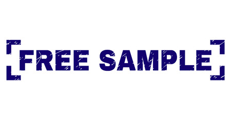 FREE SAMPLE text seal print with corroded texture. Text label is placed between corners. Blue vector rubber print of FREE SAMPLE with unclean texture. Stok Fotoğraf - 126316785