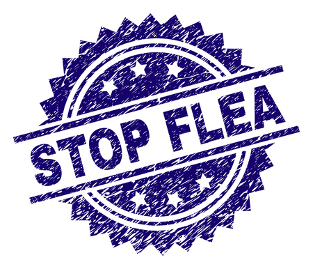 STOP FLEA stamp seal watermark with distress style. Blue vector rubber print of STOP FLEA label with grunge texture.