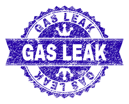 GAS LEAK rosette stamp watermark with distress texture. Designed with round rosette, ribbon and small crowns. Blue vector rubber watermark of GAS LEAK text with retro texture.