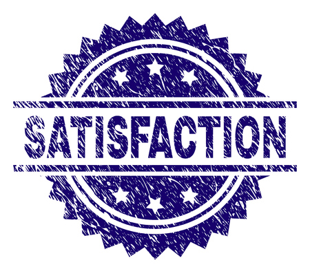 SATISFACTION stamp seal watermark with distress style. Blue vector rubber print of SATISFACTION text with unclean texture.