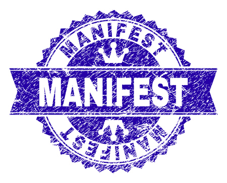 MANIFEST rosette seal overlay with grunge style. Designed with round rosette, ribbon and small crowns. Blue vector rubber print of MANIFEST text with grunge texture.