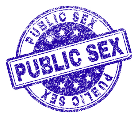 PUBLIC SEX stamp seal watermark with distress texture. Designed with rounded rectangles and circles. Blue vector rubber print of PUBLIC SEX title with grunge texture.
