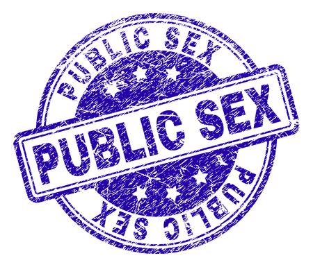 PUBLIC SEX Stempelsiegel-Wasserzeichen mit Distress-Textur. Entworfen mit abgerundeten Rechtecken und Kreisen. Blauer Vektorgummidruck von PUBLIC SEX-Titel mit Grunge-Textur. Vektorgrafik