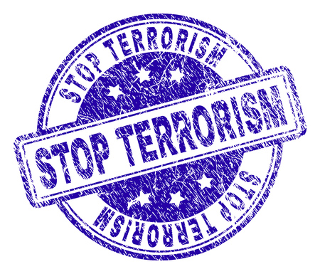 STOP TERRORISM stamp seal imprint with grunge texture. Designed with rounded rectangles and circles. Blue vector rubber print of STOP TERRORISM tag with dust texture.