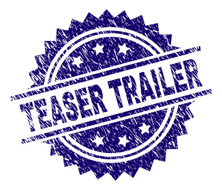 TEASER TRAILER stamp seal watermark with distress style. Blue vector rubber print of TEASER TRAILER text with corroded texture.