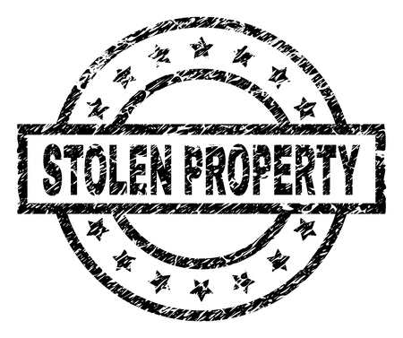 STOLEN PROPERTY stamp seal watermark with distress style. Designed with rectangle, circles and stars. Black vector rubber print of STOLEN PROPERTY caption with dirty texture.