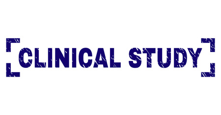 CLINICAL STUDY title seal print with grunge texture. Text title is placed inside corners. Blue vector rubber print of CLINICAL STUDY with retro texture.