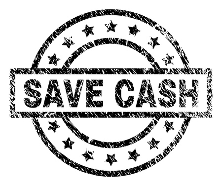 SAVE CASH stamp seal watermark with distress style. Designed with rectangle, circles and stars. Black vector rubber print of SAVE CASH title with dirty texture.