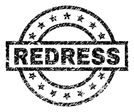 REDRESS stamp seal watermark with distress style. Designed with rectangle, circles and stars. Black vector rubber print of REDRESS tag with retro texture. Illustration