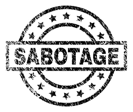 SABOTAGE stamp seal watermark with distress style. Designed with rectangle, circles and stars. Black vector rubber print of SABOTAGE tag with dust texture.