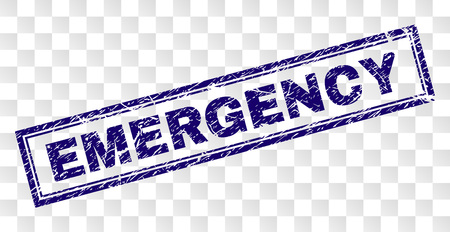 EMERGENCY stamp seal print with rubber print style and double framed rectangle shape. Stamp is placed on a transparent background. Blue vector rubber print of EMERGENCY tag with dust texture.