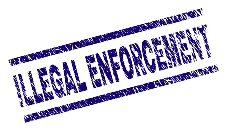 ILLEGAL ENFORCEMENT seal stamp with scratced style. Blue vector rubber print of ILLEGAL ENFORCEMENT text with scratched texture. Text tag is placed between parallel lines.