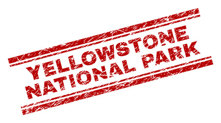 YELLOWSTONE NATIONAL PARK seal imprint with corroded texture. Red vector rubber print of YELLOWSTONE NATIONAL PARK text with unclean texture. Text tag is placed between double parallel lines.