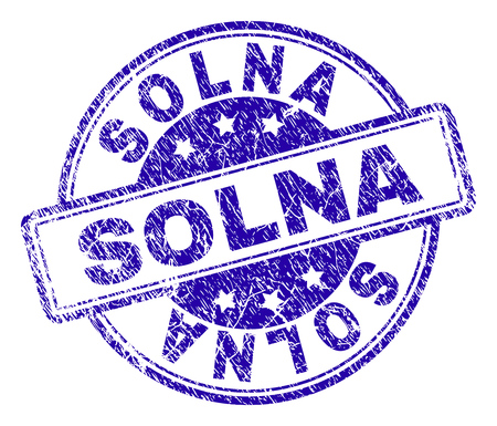 SOLNA stamp seal watermark with grunge style. Designed with rounded rectangles and circles. Blue vector rubber print of SOLNA title with grunge texture.