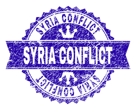 SYRIA CONFLICT rosette seal watermark with grunge texture. Designed with round rosette, ribbon and small crowns. Blue vector rubber watermark of SYRIA CONFLICT text with grunge texture.