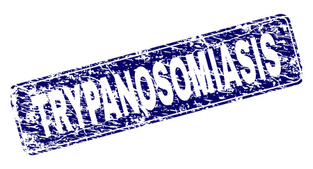 TRYPANOSOMIASIS stamp seal print with distress texture. Seal shape is a rounded rectangle with frame. Blue vector rubber print of TRYPANOSOMIASIS title with dust texture. Illustration