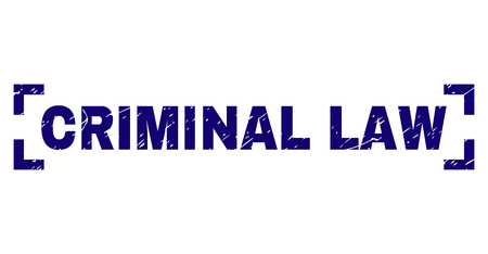 CRIMINAL LAW text seal print with grunge style. Text title is placed inside corners. Blue vector rubber print of CRIMINAL LAW with grunge texture.