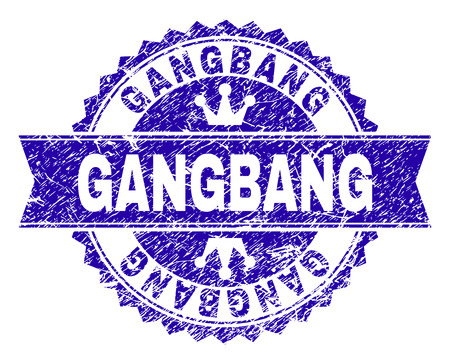 GANGBANG rosette stamp watermark with distress texture. Designed with round rosette, ribbon and small crowns. Blue vector rubber print of GANGBANG caption with grunge texture.