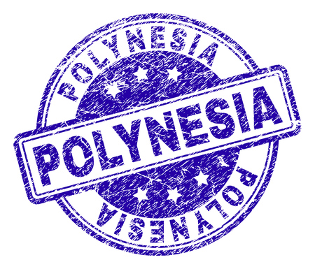 POLYNESIA stamp seal imprint with distress texture. Designed with rounded rectangles and circles. Blue vector rubber print of POLYNESIA label with unclean texture.