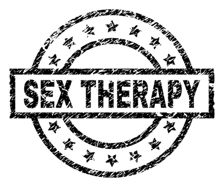 SEX THERAPY stamp seal watermark with distress style. Designed with rectangle, circles and stars. Black vector rubber print of SEX THERAPY text with dirty texture.