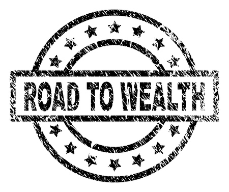 ROAD TO WEALTH stamp seal watermark with distress style. Designed with rectangle, circles and stars. Black vector rubber print of ROAD TO WEALTH text with dirty texture.