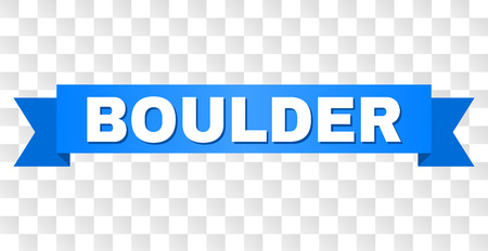 BOULDER text on a ribbon. Designed with white title and blue tape. Vector banner with BOULDER tag on a transparent background.