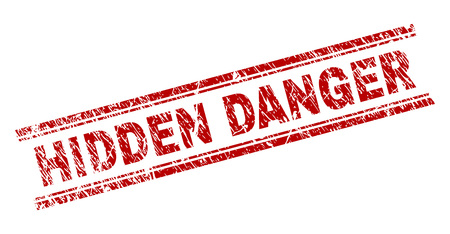 HIDDEN DANGER seal print with corroded texture. Red vector rubber print of HIDDEN DANGER text with retro texture. Text title is placed between double parallel lines.