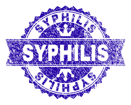 SYPHILIS rosette stamp imprint with grunge effect. Designed with round rosette, ribbon and small crowns. Blue vector rubber watermark of SYPHILIS title with grunge texture.