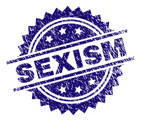 SEXISM stamp seal watermark with distress style. Blue vector rubber print of SEXISM text with grunge texture.
