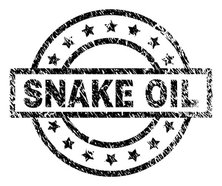 SNAKE OIL stamp seal watermark with distress style. Designed with rectangle, circles and stars. Black vector rubber print of SNAKE OIL title with unclean texture. Vector Illustration