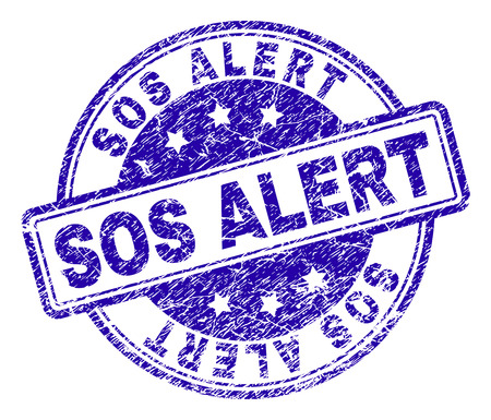 SOS ALERT stamp seal watermark with grunge texture. Designed with rounded rectangles and circles. Blue vector rubber print of SOS ALERT label with grunge texture.