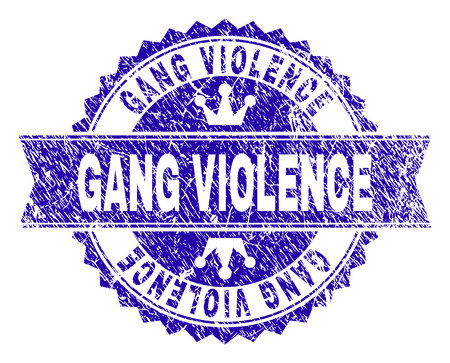 GANG VIOLENCE rosette stamp seal imitation with grunge style. Designed with round rosette, ribbon and small crowns. Blue vector rubber watermark of GANG VIOLENCE title with unclean style.