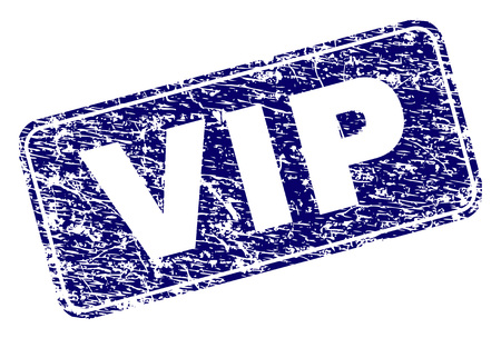 VIP stamp seal print with distress style. Seal shape is a rounded rectangle with frame. Blue vector rubber print of VIP title with grunge style.