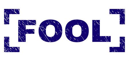 FOOL title seal print with grunge texture. Text title is placed inside corners. Blue vector rubber print of FOOL with retro texture.