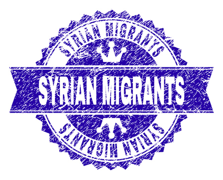 SYRIAN MIGRANTS rosette stamp overlay with distress texture. Designed with round rosette, ribbon and small crowns. Blue vector rubber print of SYRIAN MIGRANTS title with dirty texture.