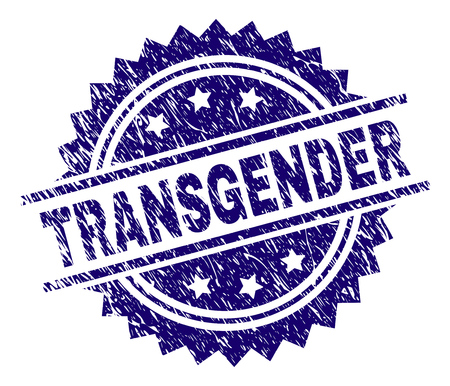 TRANSGENDER stamp seal watermark with distress style. Blue vector rubber print of TRANSGENDER label with dust texture.
