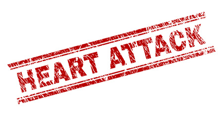 HEART ATTACK seal watermark with corroded texture. Red vector rubber print of HEART ATTACK caption with corroded texture. Text title is placed between double parallel lines.