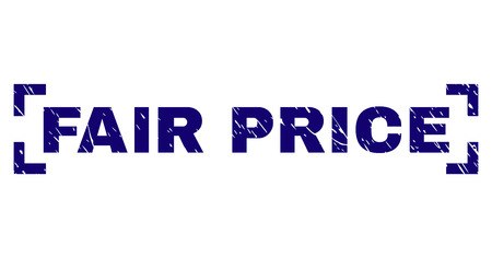 FAIR PRICE title seal print with grunge texture. Text label is placed between corners. Blue vector rubber print of FAIR PRICE with unclean texture.