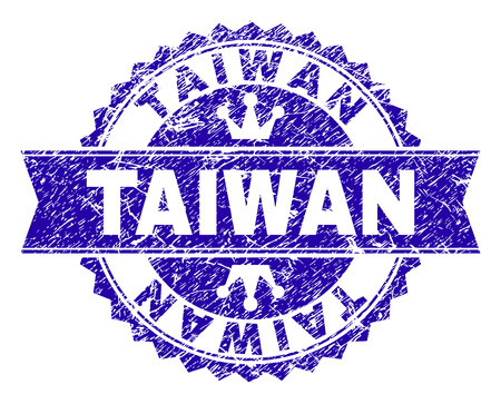 TAIWAN rosette stamp seal watermark with grunge texture. Designed with round rosette, ribbon and small crowns. Blue vector rubber watermark of TAIWAN label with grunge texture.