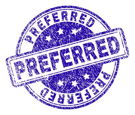 PREFERRED stamp seal imprint with grunge texture. Designed with rounded rectangles and circles. Blue vector rubber print of PREFERRED tag with dirty texture.