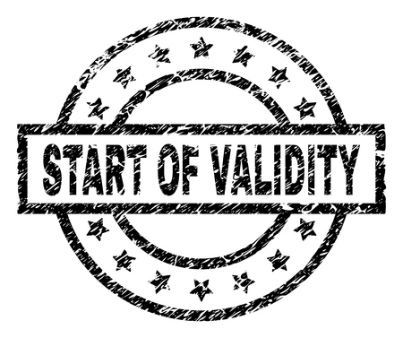 START OF VALIDITY stamp seal watermark with distress style. Designed with rectangle, circles and stars. Black vector rubber print of START OF VALIDITY title with dust texture. Illustration