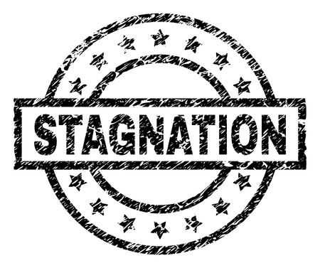 STAGNATION stamp seal watermark with distress style. Designed with rectangle, circles and stars. Black vector rubber print of STAGNATION caption with corroded texture.