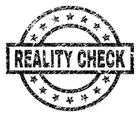 REALITY CHECK stamp seal watermark with distress style. Designed with rectangle, circles and stars. Black vector rubber print of REALITY CHECK title with grunge texture. Illustration