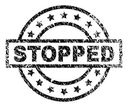 STOPPED sello sello marca de agua con estilo de socorro. Diseñado con rectángulo, círculos y estrellas. Impresión de goma de vector negro del título DETENIDO con textura de polvo.