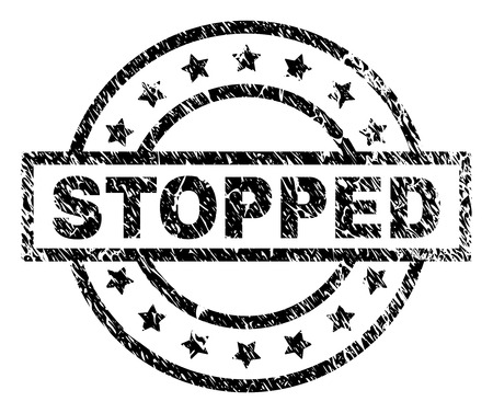 STOPPED stamp seal watermark with distress style. Designed with rectangle, circles and stars. Black vector rubber print of STOPPED title with dust texture.